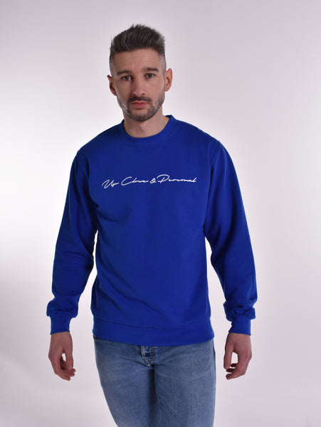 Up Close & Personal Printed Signature Sweatshirt - Blue