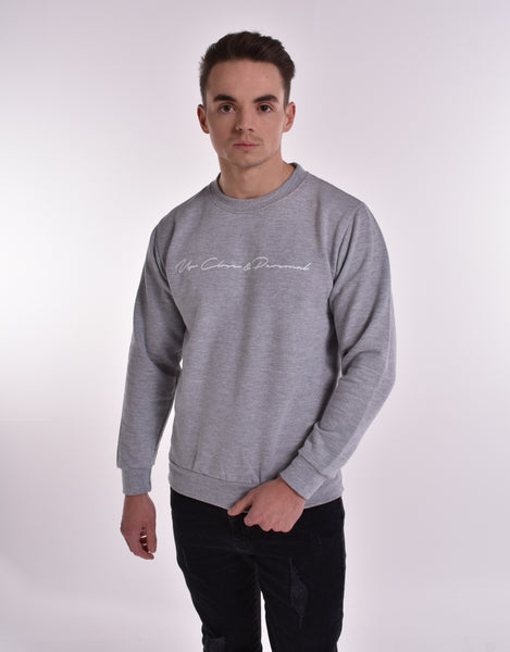 Up Close & Personal Printed Signature Sweatshirt - Grey