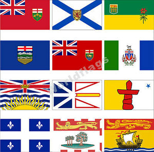 The 13 provincial and territorial flags of Canada