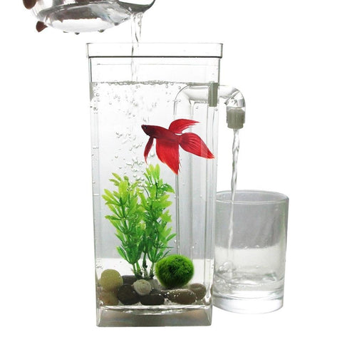 AsyPets Self Cleaning Plastic Fish Tank Desktop Aquarium Betta Fishbowl for Office Home Decor-30