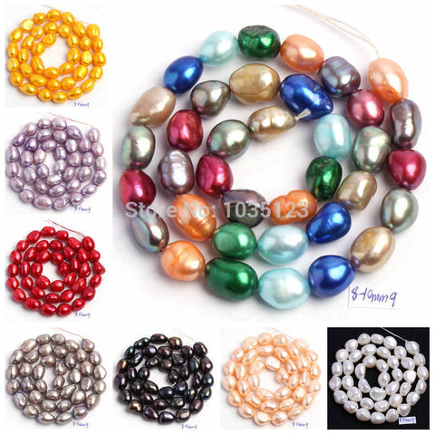 "Free Shipping 18 Color 8-10mm multicolor Natural Freshwater Pearl Irregular Shape Loose Beads Strand 14"" Jewellery Making wj50"
