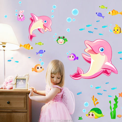 Mew Dolphins Wall Decal Sticker Home Decor DIY Removable Art Vinyl Mural For Kids Room/Bathroom/Tile/kindergarten/Girls QTB399