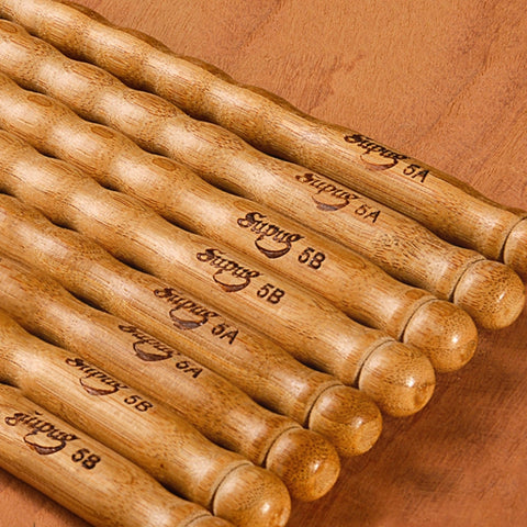 1 Pairs Wavy Pattern Bamboo Drumsticks 5A / 5B / 6A Drum Stick Durable Practical