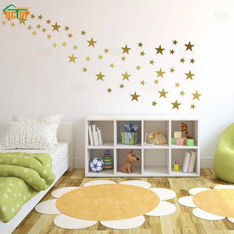 70pcs Star Wall Sticker Multi sized Silver Gold Star For Kids Rooms Home Decor Wall Decals Baby Nursery DIY Vinyl Sticker Mural