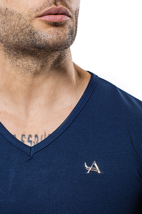 Luxe V-Neck Bamboo T-Shirt Stainless Logo Blue