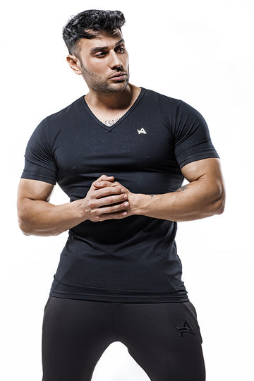 Luxe V-Neck Bamboo T-Shirt Stainless Logo Black