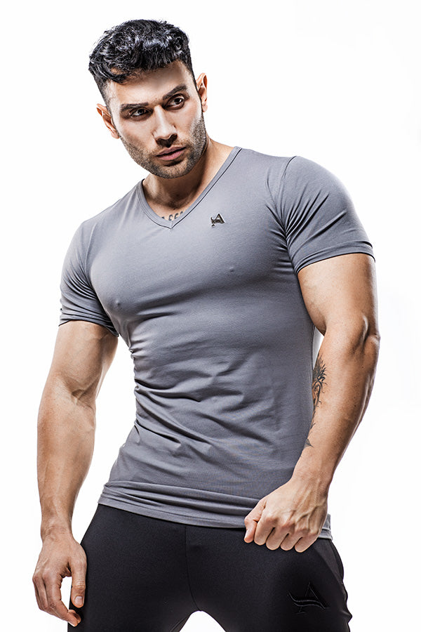 Luxe V-Neck Bamboo T-Shirt Stainless Logo Grey