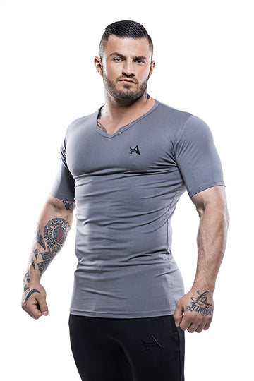 Basic V-Neck Bamboo T-Shirt Grey