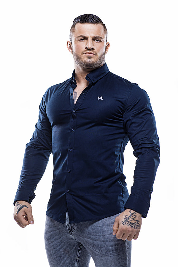 Cotton Muscle Fit Shirt Blue