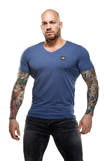 V-Neck Bamboo T-Shirt Blue Melange