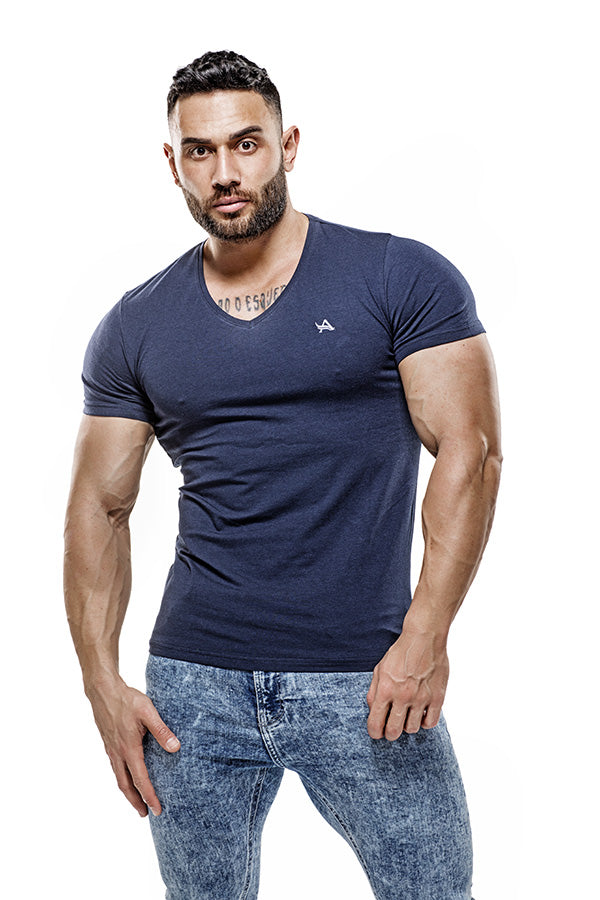 Low V-Neck Basic Bamboo T-Shirt Blue