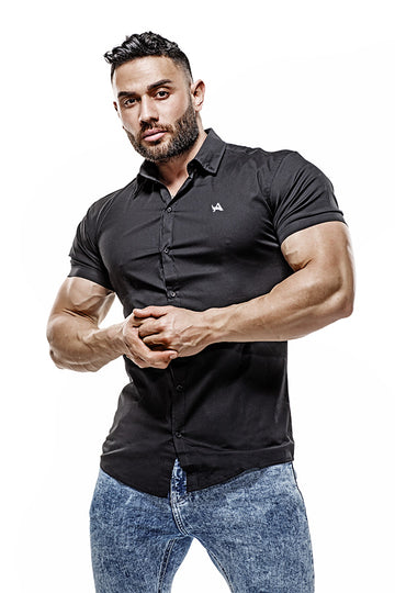 Short sleeve Cotton Muscle Fit Shirt (Black)