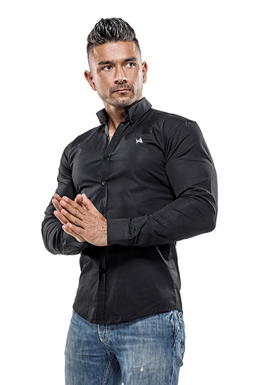 Cotton Muscle Fit Shirt (Black)
