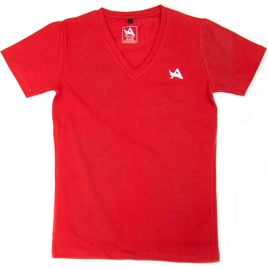 T-shirt red V-neck