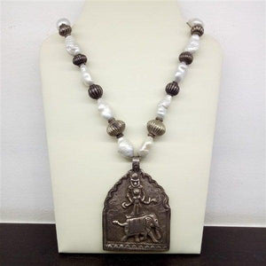 Elephant with God big size pendant with pearls and silver beads silver mala
