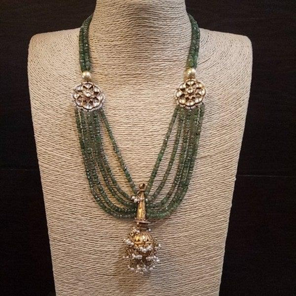 Five-line necklace with gold polish & Kundan side piece, Hanging ball - Pratha the jewellery studio pune