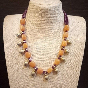 Mani Necklace with yellow Quartz and Ruby