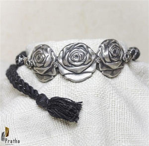 Quirky rose choker handcrafted in sterling silver