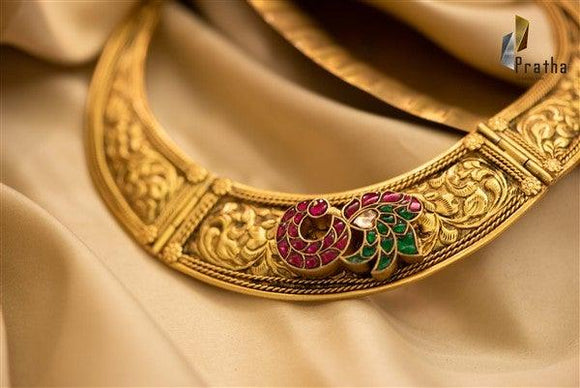 Chitai & kundan work neck piece