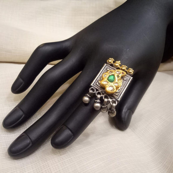 Sterling silver 22 ct gold plated two tone and synthetic green stone with kundan adjustable ring