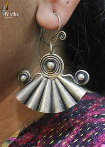 ethnic pankhi shape earrings handcrafted in sterling silver embellished with pearls
