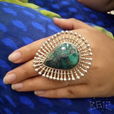 Silver Drop Shaped Green Ring - Pratha the jewellery studio pune