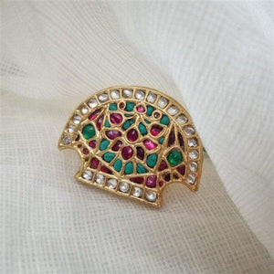 Big Gold Plated Silver ring with red kundan and turquoise stone