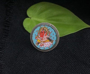 Miniature handpainted Ganesha Sterling Silver Ring