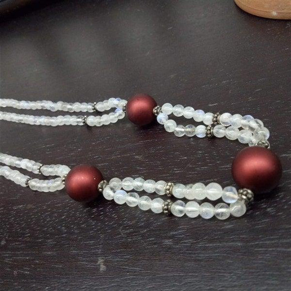 Two line Mala in Morano brown ball with white moon stone