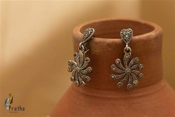 Marcasite Flower Earrings