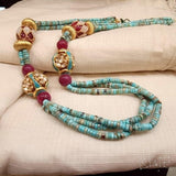 Sterling silver handcrafted 22 ct gold plated beads synthetic turquoise with kundan ball