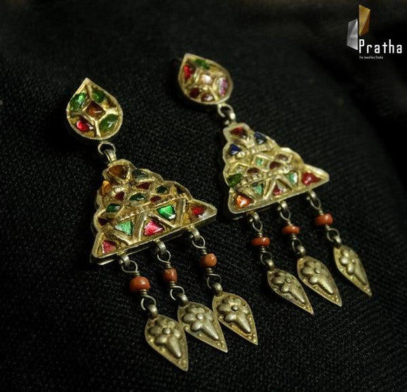 antique kundan earrings with semi precious stones handcrafted in sterling silver plated with gold