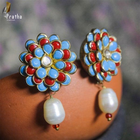 semiprecious turqoise & pearl  pacchi work studds with pearl drops handcrafted in sterling silver plated with gold