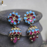 semiprecious blue & pink stones  pacchi work jhumka  handcrafted in pure silver plated with gold
