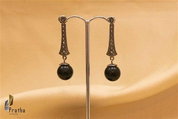 Marcasite Black Drop Earrings