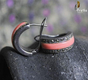 marcasite hoops with coral colour enamel work handcrafted in sterling silver