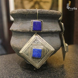 ethnic geometrical earrings handcrafted in sterling silver embellished with semiprecious lapis stone