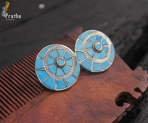 chakra earring handcrafted in sterling silver with blue enamel work & intricate detailing