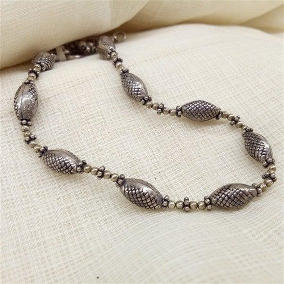 Oval Beads in Silver anklet