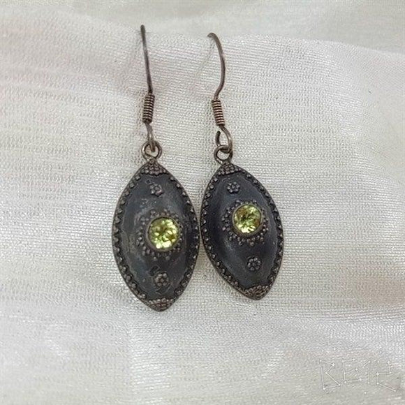 Sterling Silver handcrafted yellow synthetic stones antique earring