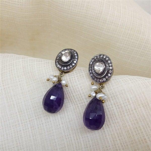 Silver Victorian Top with Amethyst Drop