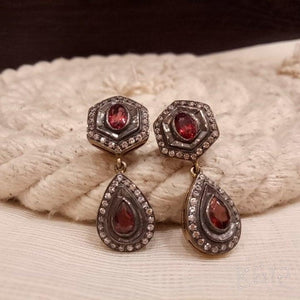 Sterling silver handcrafted small AD and synthetic red stone use in victorian earring