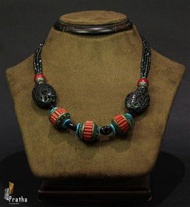 Sterling silver handcrafted afghani neckpiece with natural coral & turquoise & black onyx gemstones.