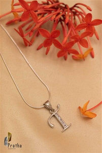 Alphabet T Pendant With Chain