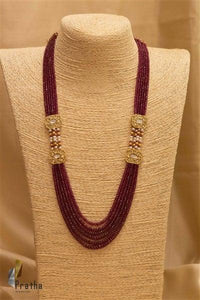 Polki Side Pieces-Ruby Mala