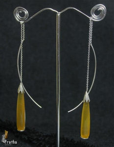 sui dhaga earring handcrafted in sterling silver with a semiprecious yellow onyx stone