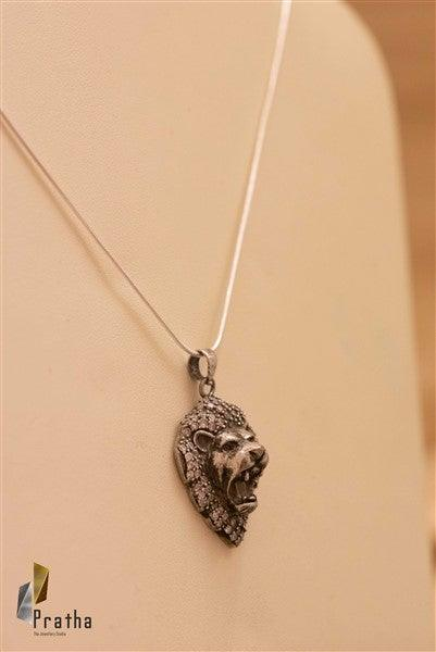 Tiger Face Pendant With Chain