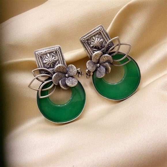 Contemporary Green Onyx Earrings