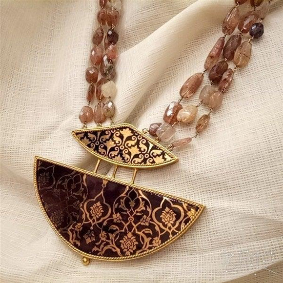 Three line necklace with gold Polish and Guthai Stone work