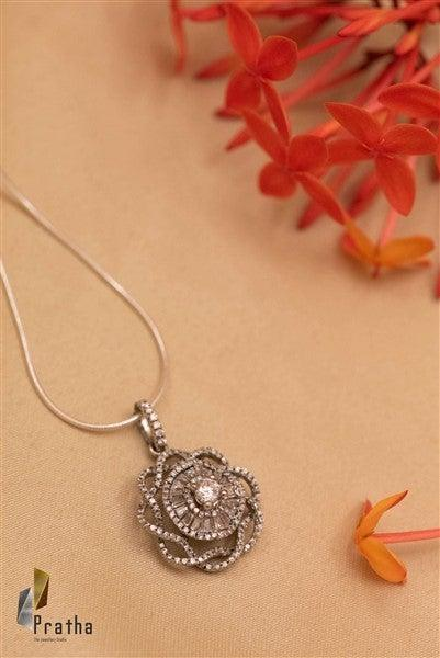 Flower Shape Diamond Pendant With Chain